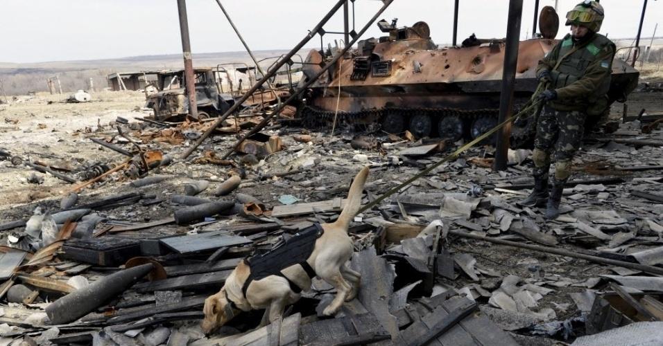 27.mar.2015 - Um soldado ucraniano e seu cão participam de uma operação de busca para desativar e destruir munições no assentamento de Lugansk, na região de Donetsk