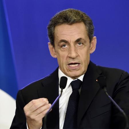 29.mar.2015 - Ex-presidente francês Nicolas Sarkozy, do partido conservador UMP, discursa após eleições locais - Eric Feferberg/AFP Photo