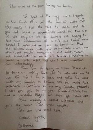 1º.abr.2015 - O piloto da Germanwings Jai Dillon publicou em sua conta no Twitter a carta de uma passageira que agradeceu por ter feito um pouso seguro - Jai Dillon/Reprodução Twitter