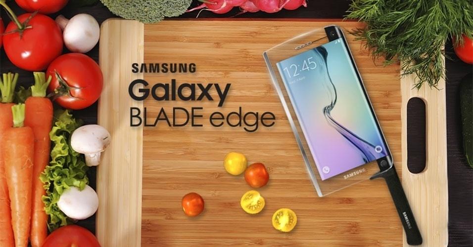 2015 - Depois dos smartphones e dos smartwatches, a Samsung mostrou no Dia da Mentira a primeira smartknife (faca inteligente). Chamada de Galaxy Blade Edge, ela conta com uma tela sensível ao toque (!!!), um termostato e uma câmera embutida para tirar foto da comida