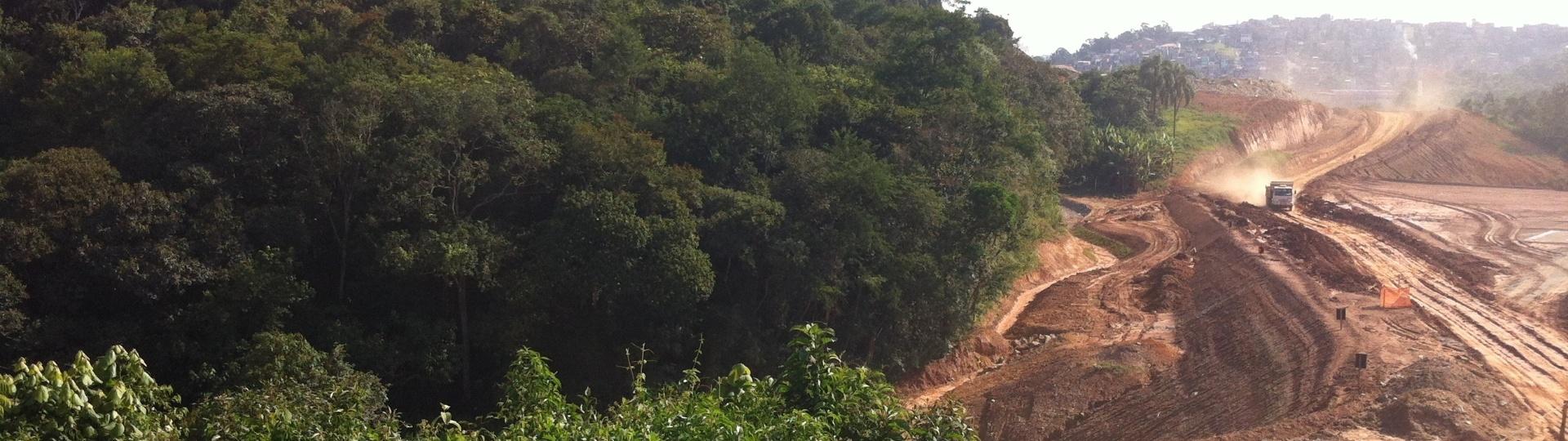 Imagem das obras no lote 5 do Rodoanel Norte. O cronograma para término das obras, agora marcado para o primeiro semestre de 2017, foi alterado pela quarta vez