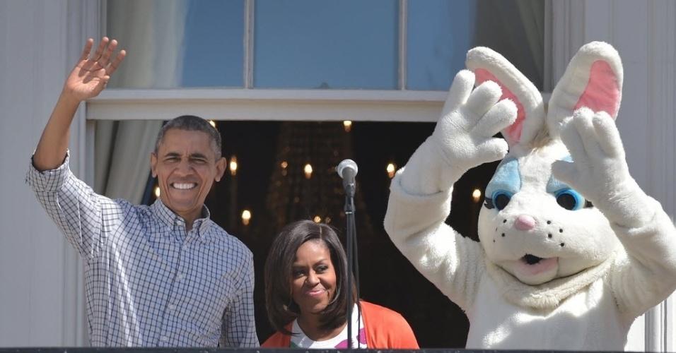 6.abr.2015 - Presidente dos EUA, Barack Obama, a primeira-dama, Michelle Obama, e o