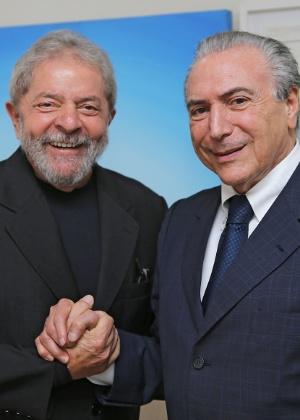 Lula e Michel Temer em evento no Instituto Lula, em São Paulo, em abril de 2015