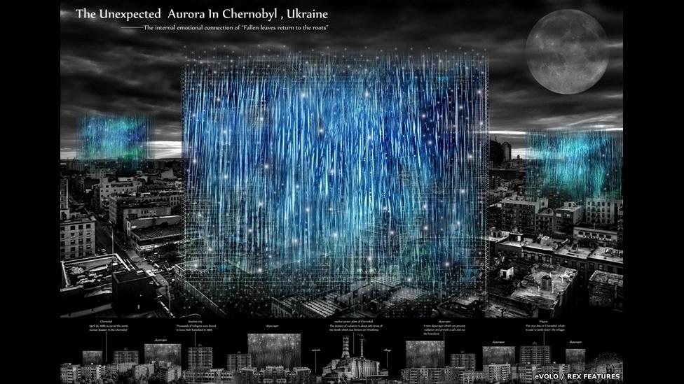 10.abr.2015 - Este projeto de Zhang Zehua, Song Qiang e Liu Yameng, da China, visa construir um edifício para pessoas que voltam para Chernobyl. O equipamento para purificação de ar e água está dentro do prédio e a energia solar garante o funcionamento de dispositivos internos. Faz parte da lista final de vencedores do Prêmio eVolo Skyscraper 2015 (Unexpected Aurora in Chernobyl de Zhang Zehua, Song Qiang, Liu Yameng - China)