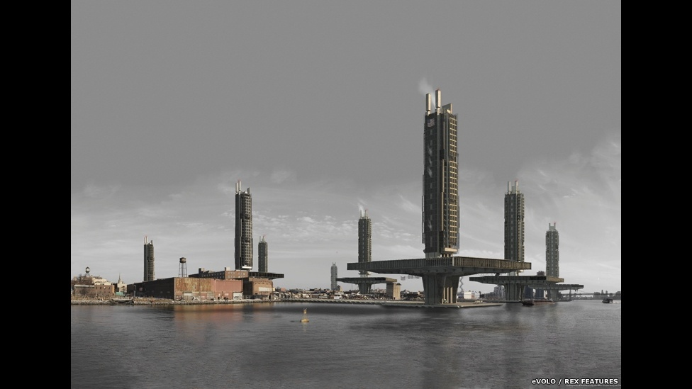 10.abr.2015 - Fábricas Verticais em Nova York é o projeto do britânico Stuart Beattie que investiga a possibilidade de uma alternativa aos centros industriais horizontais e ineficientes. Ele considera a perspectiva de uma nova forma de indústria, que visa a estabilização e reintegração deste setor ao bairro do Brooklyn. Faz parte da lista final de vencedores do Prêmio eVolo Skyscraper 2015 (Vertical Factories in New York de Stuart Beattie - Grã-Bretanha)