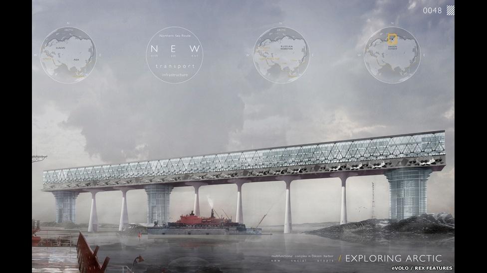 10.abr.2015 - Nikolay Zaytsev e Elizaveta Lopatina, da Rússia, fizeram um projeto baseado em uma transformação completa de um centro portuário no Ártico, criando instalações confortáveis para morar e trabalhar no ambiente da infraestrutura de transporte da Rota do Mar do Norte. Faz parte da lista final de vencedores do Prêmio eVolo Skyscraper 2015 (Exploring Arctic: Multifunctional Complex in Dikson Harbor. Nikolay Zaytsev, Elizaveta Lopatina, Russia)