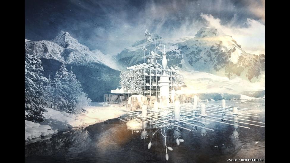 10.abr.2015 - Os juízes da competição eVolo Skyscraper 2015 também deram menções honrosas a outros 15 projetos, incluindo a Torre do Refúgio, de Qidan Chen, da China, que o autor definiu como uma