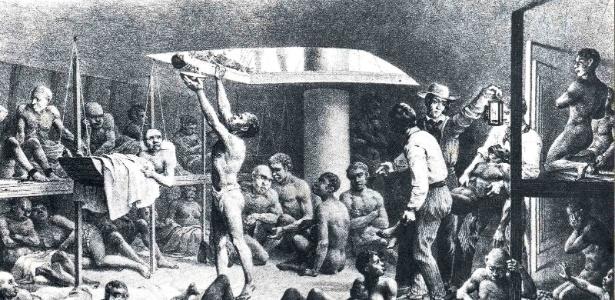 Ilustração de 1835 mostra o porão de um navio negreiro. Estima-se que mais de 660 mil africanos escravizados morreram no caminho entre a África e o Brasil