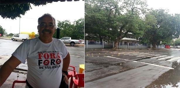 Macapá: manifestante solitário vai para ponto de concentração e não encontra ninguém - Luis Carlos Ramos/via WhatsApp