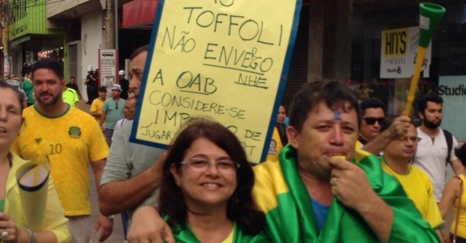 12.abr.2015 - O internauta Sizenildo Figueiredo enviou imagem via WhatsApp (11) 97500-1925 do protesto contra o governo da presidente Dilma Rousseff em Porto Velho, Rondônia
