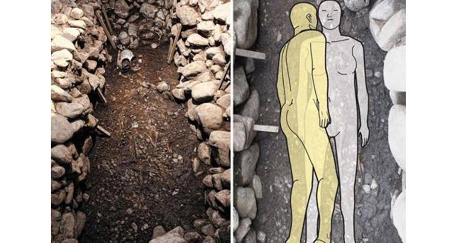 13.abr.2015 - Arqueólogos encontraram uma tumba de 1.500 anos de uma mulher nobre que teria morrido abraçada a seu amante na Coreia do Sul. A descoberta sugere que o homem foi sacrificado para se unir à mulher em sua morte, possivelmente para protegê-la após sua passagem pela vida terrena. A tumba pertence ao antigo reino de Silla (57 a.C. - 935 d.C). O Império Silla durou mil anos e foi uma das mais longas dinastias
