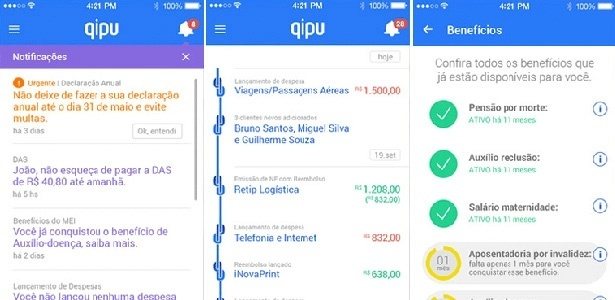 Telas de navegação do aplicativo Qipu, produzido pelo Sebrae e pelo Buscapé