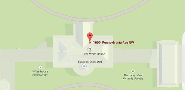 """Usuário aproveita """"falha"""" e insere local chamado """"Edward Snow den"""" na Casa Branca - Reprodução/Google Maps"""