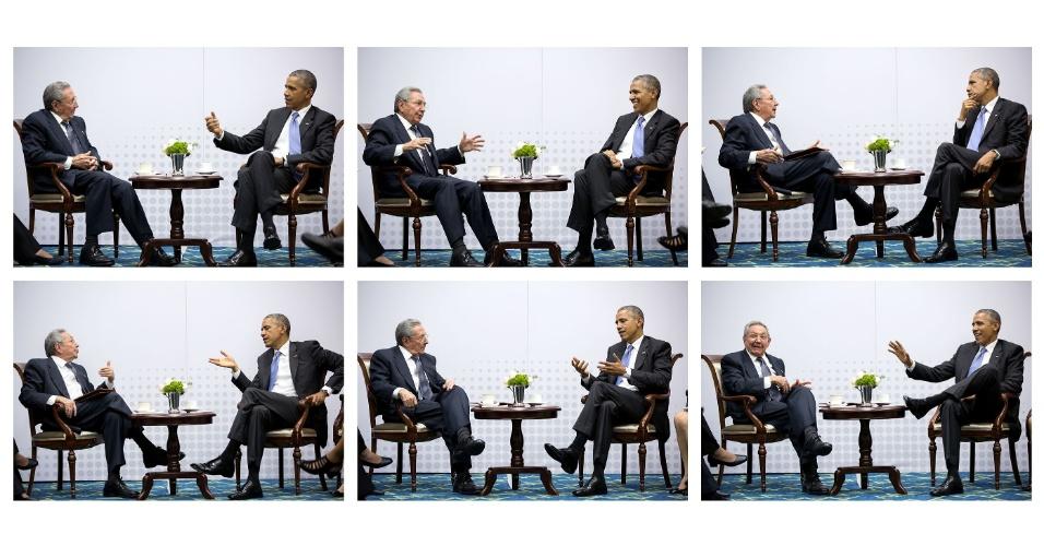 11.abr.2015 - Montagem reúne fotos do encontro reservado entre Raúl Castro, presidente de Cuba, e Barack Obama, presidente dos Estados Unidos, a Cúpula das Américas, na cidade do Panamá. Durante a conversa, Obama disse que queria