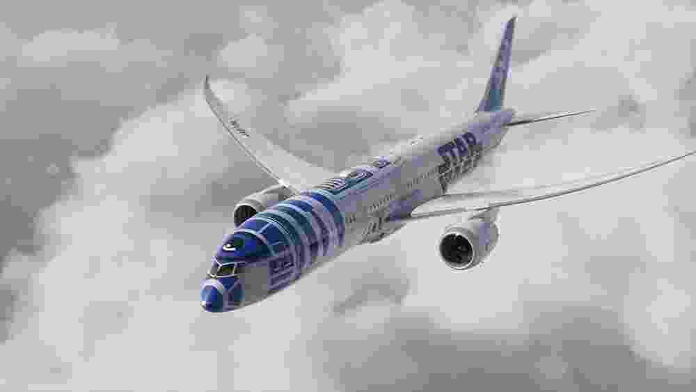 A aérea japonesa All Nippon Airways decorou um Boeing 787 como o carismático robôzinho R2-D2, de Star Wars - Divulgação/All Nippon Airways