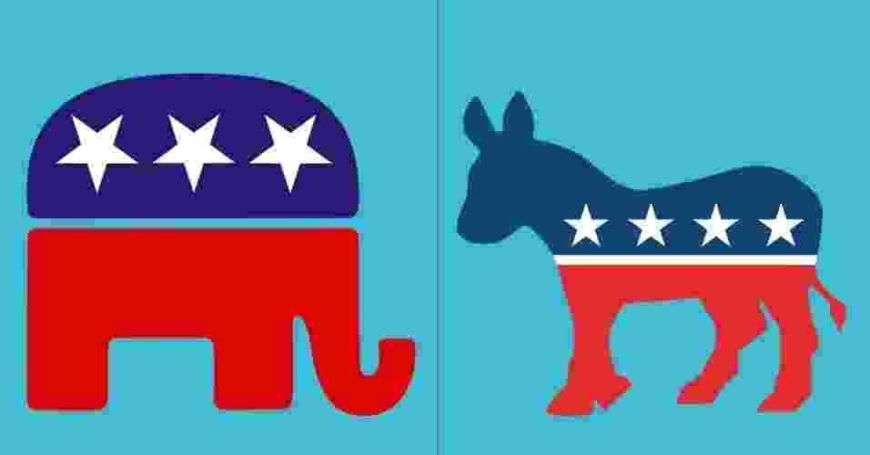 Montagem com os logos republicano e democrata - Arte UOL