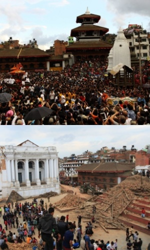 25.abr.2015 - A praça de Durbar, em Katmandu, também teve prédios históricos afetados, como pode-se ver na comparação de fotos. A imagem de cima mostra centenas de devotos participando de uma procissão aos deuses Ganesh, Kumari e Bhairav, no último dia do festival Indrajatra, em setembro de 2013. A imagem de baixo mostra os estragos provocados pelo terremoto de magnitude 7,8 neste sábado (25)