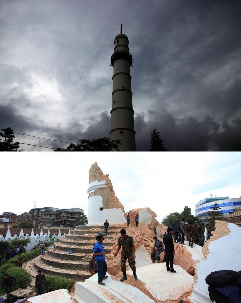 25.abr.2015 - Montagem compara a torre de Dharahara, marco histórico em Katmandu, antes e depois do terremoto de magnitude 7,8 que atingiu o Nepal. A foto de cima foi tirada em julho de 2013; a de baixo, neste sábado (25)