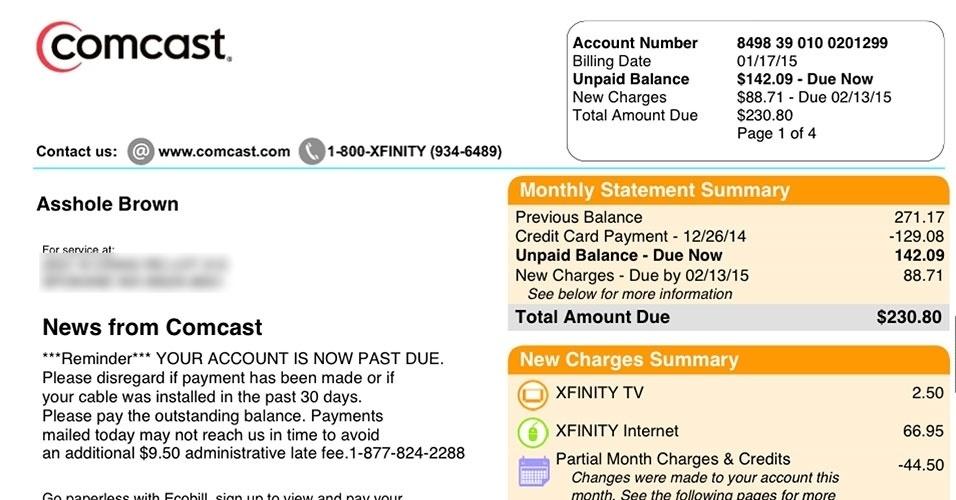 """Nos Estados Unidos, um cliente recebeu uma correspondência na operadora de TV a cabo Comcast mudando seu nome. Em vez de Ricardo Brown, a carta de cobrança o identificava como """"Asshole Brown"""". O termo """"asshole"""" pode ser traduzido para o português como c***ão"""