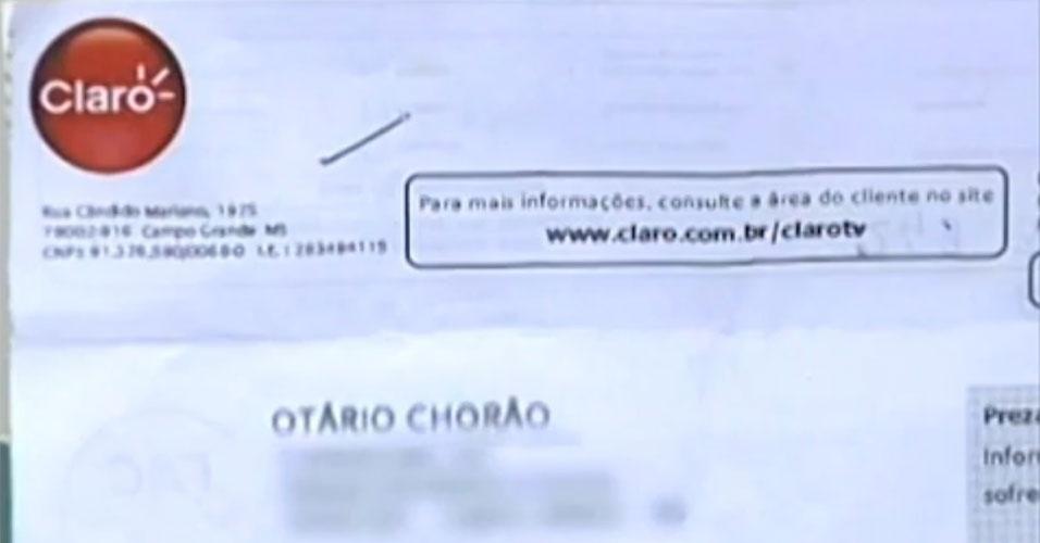 """""""Otário Chorão"""" foi o que veio na conta da Claro TV do empresário César Medeiros, 42, de Campo Grande (MS)"""