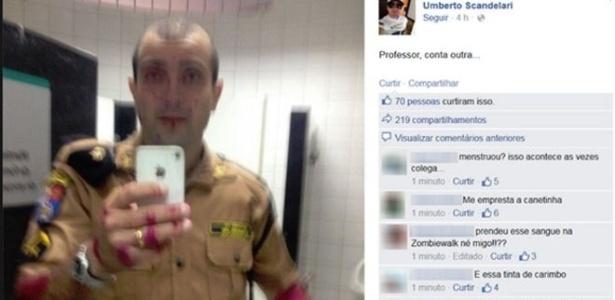 """O PM Umberto Scandelari postou em sua página no Facebook uma foto na qual estaria coberto de """"sangue"""""""
