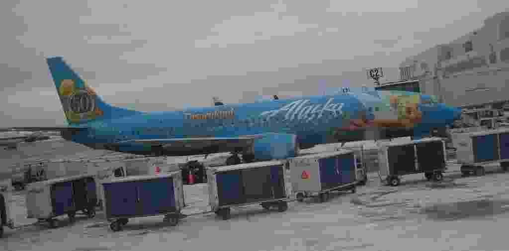 A fada Sininho, companheira de Peter Pan nos clássicos da Disney, é a personagem neste avião da Alaska Airlines - Annette (Alaska, USA)/Flickr
