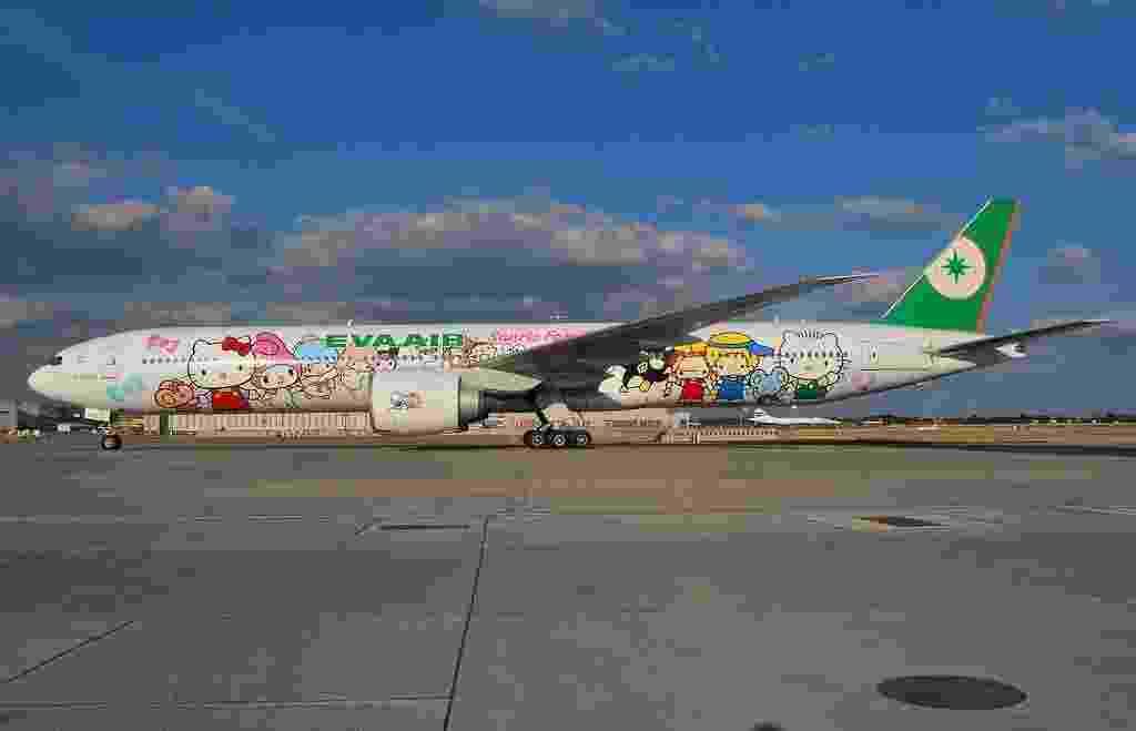 Aviões da Hello Kitty, da companhia aérea EVA, fazem voos regionais para a Ásia e de longa distância para os EUA - Simon Boddy/Flickr
