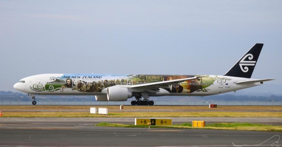 """Os personagens do filme """"O Hobbit"""" estampam a aeronave da Air New Zealand"""