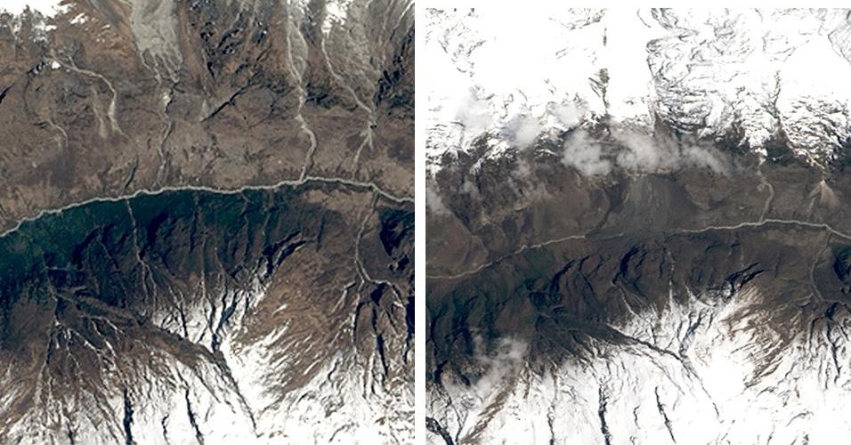 5.mai.2015 - Montagem de imagens feitas por satélite pela Nasa, a agência espacial norte-americana, mostra o antes (à esq.) e o depois (à dir.) do centro do Nepal ter sido atingido por um terremoto de magnitude 7,8 no dia 25 de abril. É visível a diferença na paisagem da pequena vila de Langtang (no centro de cada foto). O local era uma trilha popular perto de uma base de alpinismo. Uma mescla de neve, gelo e destroços deslizou da montanha e cobriu a vila. Até o rio Langtang sumiu em meio aos depósitos