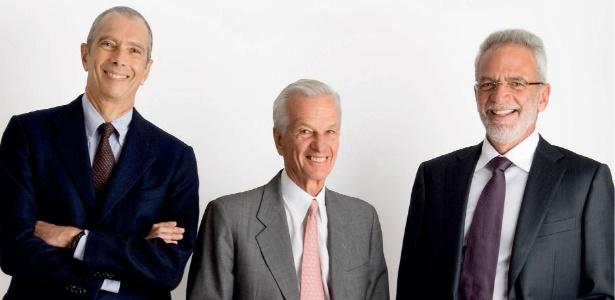 Os brasileiros Carlos Alberto Sicupira (esq.), Jorge Paulo Lemann (centro) e Marcel Telles, sócios da 3G Capital