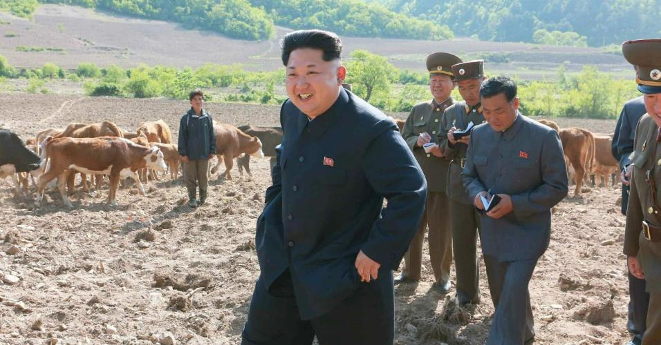 """11.mai.2015 - Em foto sem data divulgada pelo jornal """"Rodong Sinmun"""", do Partido dos Trabalhadores norte-coreano, Kim Jong-un inspeciona uma fazenda de gado pertencente ao Exército, na província de Kangwon"""
