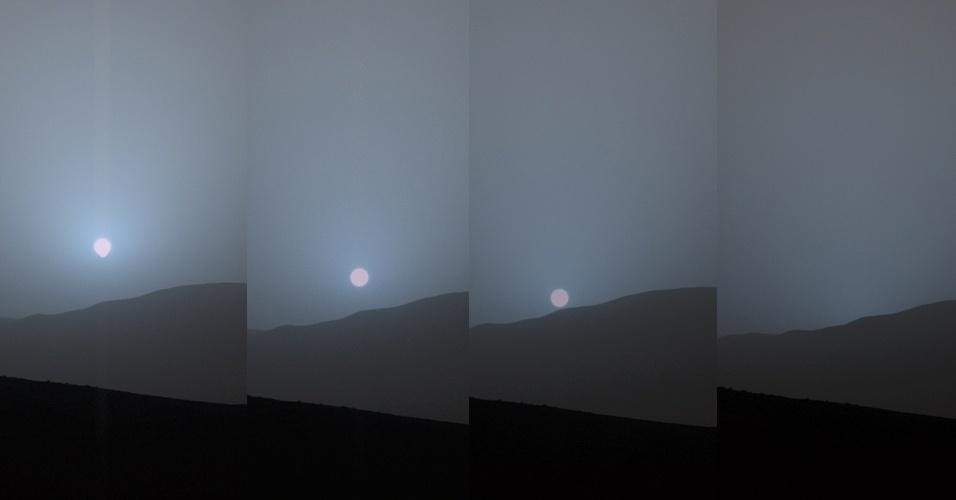 12.mai.2015 - O robô Curiosity, da Nasa (agência espacial norte-americana), gravou o pôr do Sol visto de Marte, de dentro da cratera Gale, em 15 de abril. As quatro imagens mostradas na seqüência foram feitas durante 6 minutos e 51 segundos. Este foi o primeiro pôr do Sol registrado com uma câmera colorida pelo Curiosity
