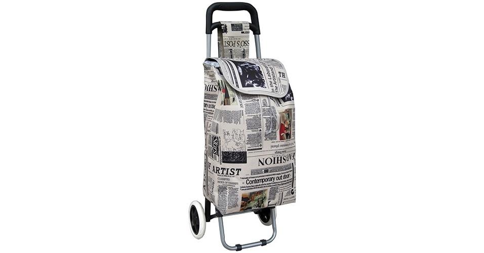 """Carrinho de compras """"Batiki Luxo ? Newspaper"""" feito em poliéster, com estampa de jornal; o tecido é removível e lavável. À venda no Extra por R$ 59,90. Preços pesquisados em 12/05/2015; pode haver alteração nos valores"""