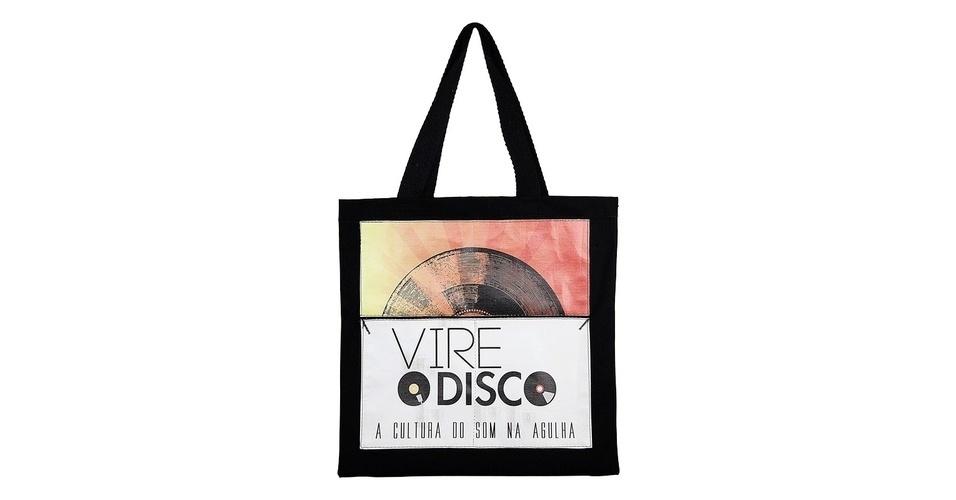 """Ecobag """"Vire o Disco"""", na cor preta, à venda na Livraria Cultura por R$ 39,90"""