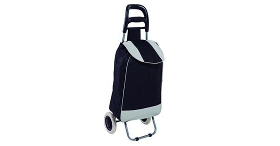 O carrinho de compras Leva Tudo Bag To Go Mor tem capacidade para 32 litros. À venda no Extra por R$ 50,78.