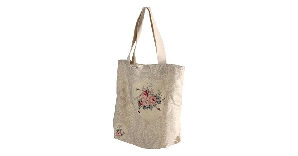 Sacola ecológica ?Belles Fleurs?, em tecido com estampa de rosas, à venda na Maria Pia Casa por R$ 71.