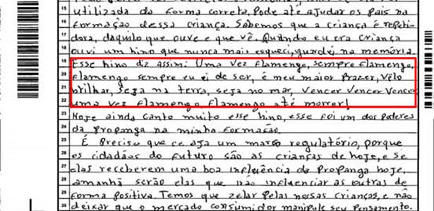 Francisco Elias da Silva, 26, tirou 600 na redação após citar o hino do Flamengo - Reprodução