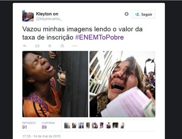 Estudantes fazem piada com o aumento da taxa de inscrição do Enem 2015. O ministro da Educação, Renato Janine Ribeiro, anunciou que neste ano a taxa sobe de R$ 35 para R$ 63
