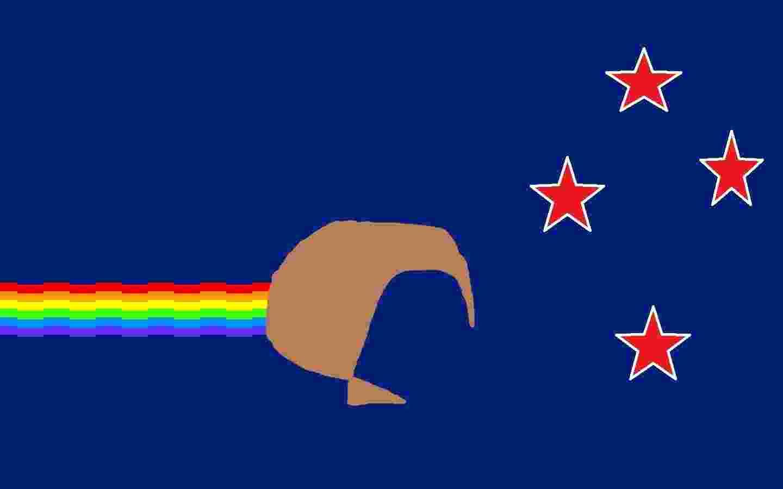"""Nyan Kiwi, por Fosh: """"Esta bandeira combina o Cruzeiro do Sul com o padrão de cores da nossa atual bandeira, com o desenho do arco-íris do popular meme do Nyan Cat no Nyan Kiwi. A música-tema do Nyan Cat poderia também ser usado como um novo, e mais simples, hino nacional"""" - www.govt.nz"""