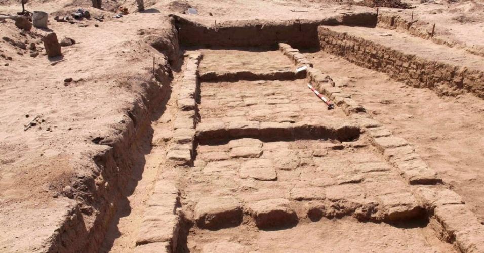 17.mai.2015 - Restos antigos de um templo da cultura Moche (entre 100 a.C. e o ano 800) foram encontrados por arqueólogos na zona da Mata Indio, entre os distritos peruanos de Zana e Cayalti, na região de Lambayeque. A imagem foi divulgada pelo Museu Tumbas Reales de Sipán