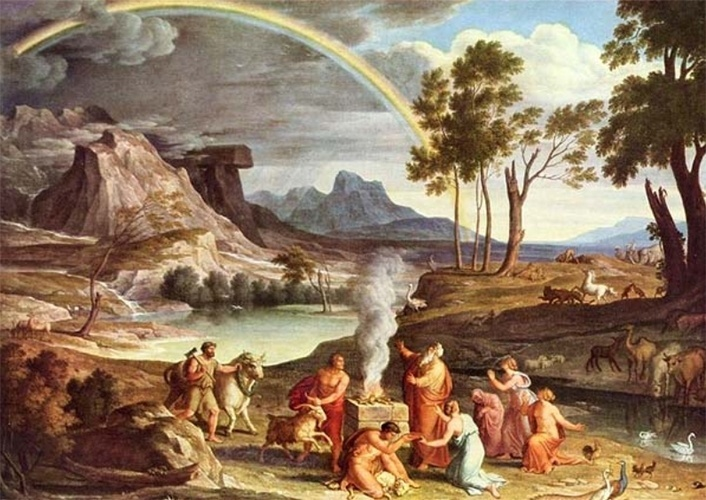 Gravura do alemão Joseph A. Koch ilustra a narrativa bíblica sobre a origem do arco-íris
