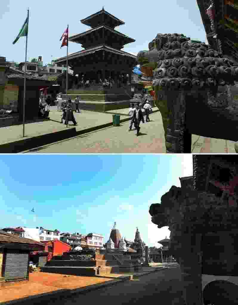 20.mai.2015 - Combinação de imagens mostra a praça Patan Durbar, em Katmandu, no Nepal, em 2008 (acima), antes do terremoto que atingiu o país asiático, e pós terremoto. Os terremotos que atingiram o país em 25 de abril e 12 de maio deixaram quase 8.600 mortos, 16.000 feridos e quase meio milhão de casas destruídas - Harish Tyagi/EFE