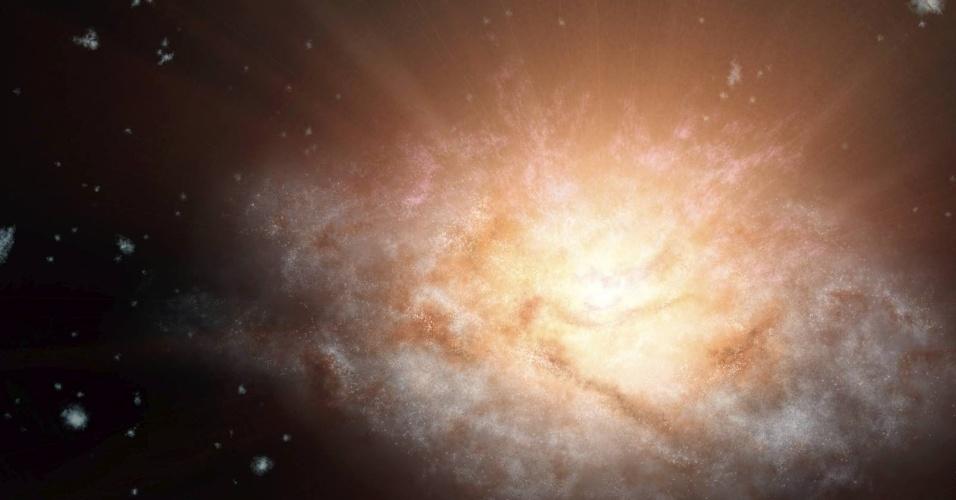 23.mai.2015 - A Nasa, a agência espacial norte-americana, descobriu a galáxia mais luminosa do Universo. Ela emite uma luz equivalente a 300 trilhões de sóis. A novidade foi divulgada na publicação