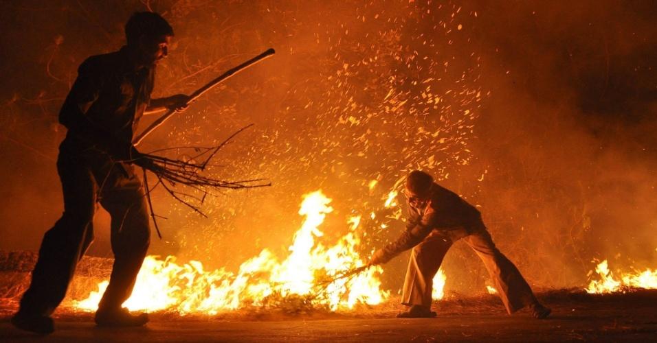 23.mai.2015 - Indianos tentam apagar incêndio em floresta de pinheiros perto de Nagrota Bagwan, no extremo norte da Índia, na noite desta sexta-feira (22). O fogo foi controlado depois de algumas horas. Com o aumento das temperaturas, enquanto se aproxima o verão no hemisfério norte, crescem os incêndios florestais, que já destruíram parte do cinturão verde da região
