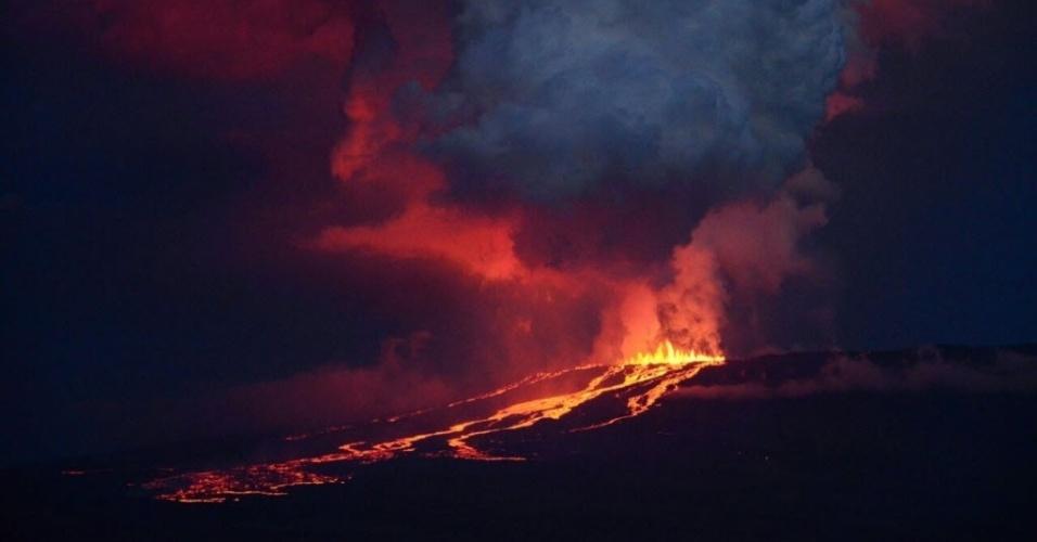 25.mai.2015 - O vulcão Wolf está erupção nesta segunda-feira (25) na ilha Isabela, no arquipélago de Galápagos, que alberga a única população de iguanas rosadas do mundo, que junto com as tartarugas locais. Segundo a direção do Parque Nacional Galápagos, os animais não serão afetados pelo fenômeno, por causa da direção que o fluxo da lava está tomando