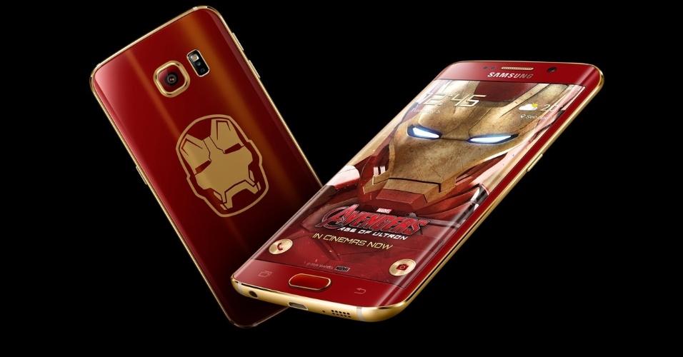 26.mai.2015 - A Samsung divulgou nesta terça-feira (26) que vai lançar uma versão do smartphone Galaxy S6 Edge temática do personagem Iron Man (Homem de Ferro), da Marvel. O aparelho tem o mesmo hardware da versão anunciada em março pela empresa
