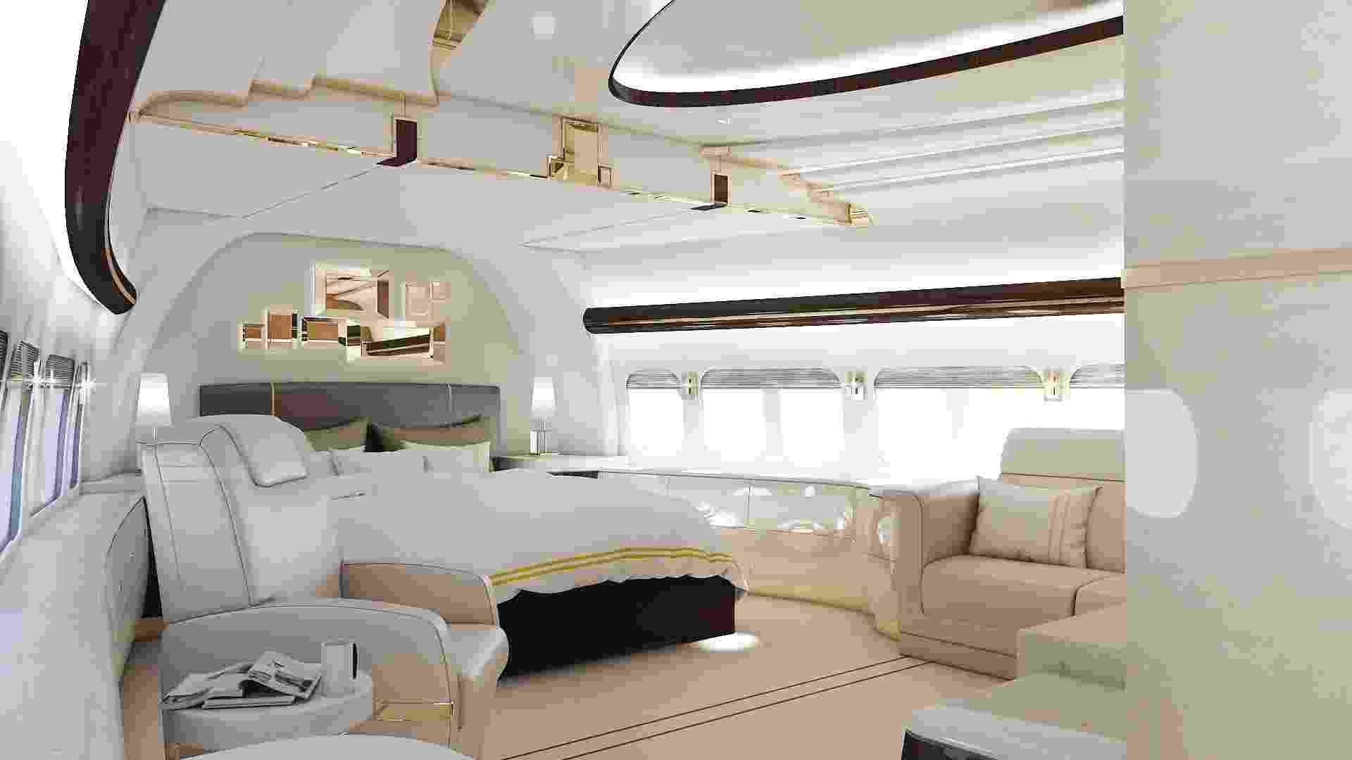 26.mai.2015 - Um bilionário misterioso transformou um Boeing 747 em uma legítima 'mansão' que voa. A reforma da aeronave custou o equivalente a R$ 2 bilhões e levou três anos para ser concluída. O avião inclui dormitórios, um restaurante e até mesmo uma zona VIP para relaxar - Greenpoint Technologies