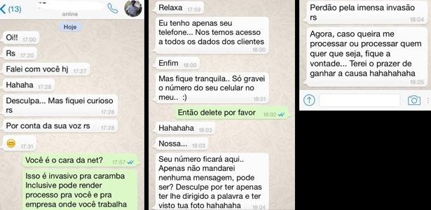 Funcionário da Net usa dados cadastrais para assediar cliente por WhatsApp - Reprodução
