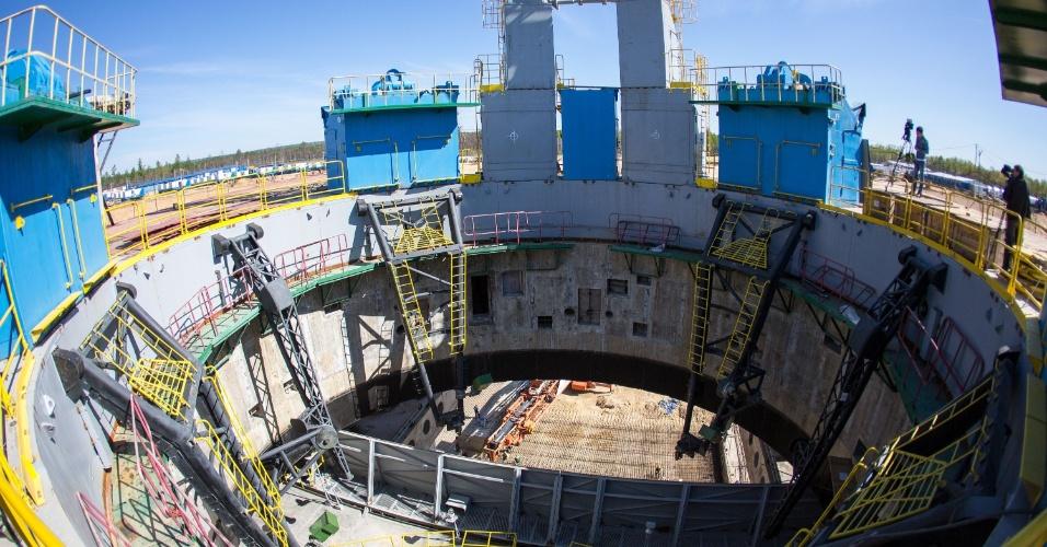 20.mai.2015 - Vista aérea registra a construção do cosmódromo de Vostochny, na região de Amur, na Rússia. Vostochny deve substituir o cosmódromo de Baikonur, simbolizando as renovadas ambições da indústria espacial russa
