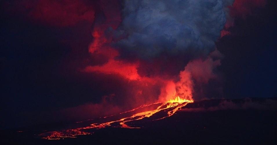 28.mai.2015 - Parque Nacional de Galápagos, no Chile, divulga foto da erupção do vulcão Lobo nesta quinta-feira (28)